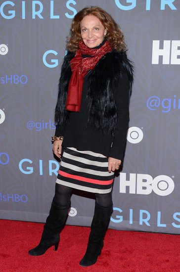Even Diane von Furstenberg is a fan of the show, and to celebrate its second season premiere, the designer showed up in a wintry mix that included a black fur vest, a striped skirt, and black knee-high boots.