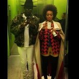 Solange Knowles took selfies in an elevator with Theophilus London. Source: Instagram user theophiluslondon