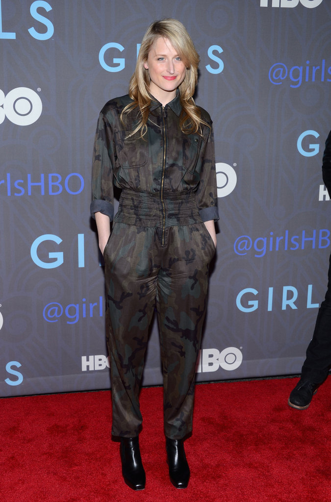 Mamie Gummer chose a very dynamic jumpsuit for the Girls premiere, taking on a subtle camo print with sophistication and ease.