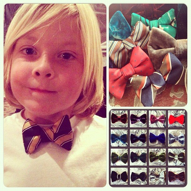 Liam McDermott modeled one of his favorite bow ties — and showed off his collection — for his mama. Source: Instagram user torianddean