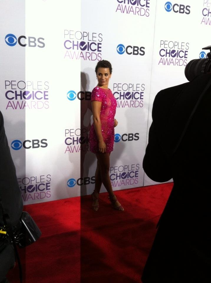 Lea Michele went short and sexy in a hot pink mini by Elie Saab. Source: Twitter user peopleschoice