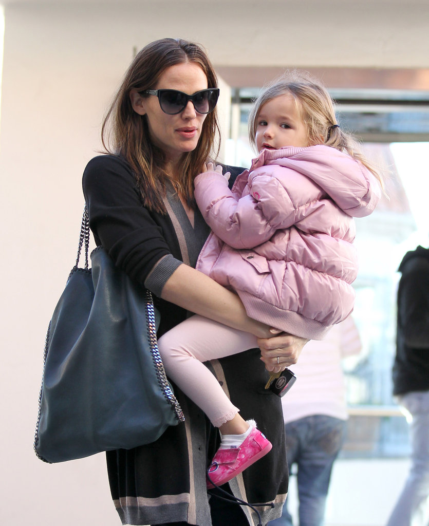 Seraphina wore a pink coat with mom Jennifer Garner.