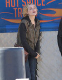 Pregnant Evan Rachel Wood Shows Her Bump on Set