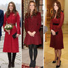 Kate Middleton Wearing Dark-Red Clothes | Pictures