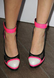 Jennifer wore a pair of neon colorblock ankle-strap heels from Casadei's collection for Prabal Gurung.