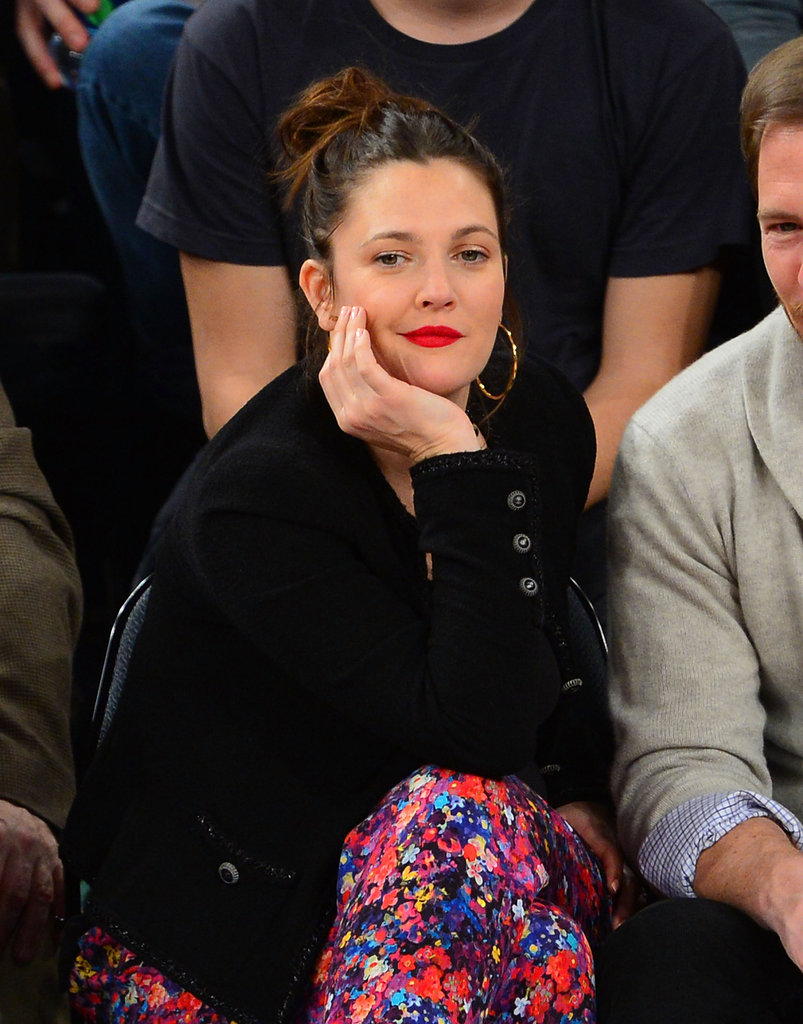 Drew Barrymore Kisses Will Kopelman Courtside
