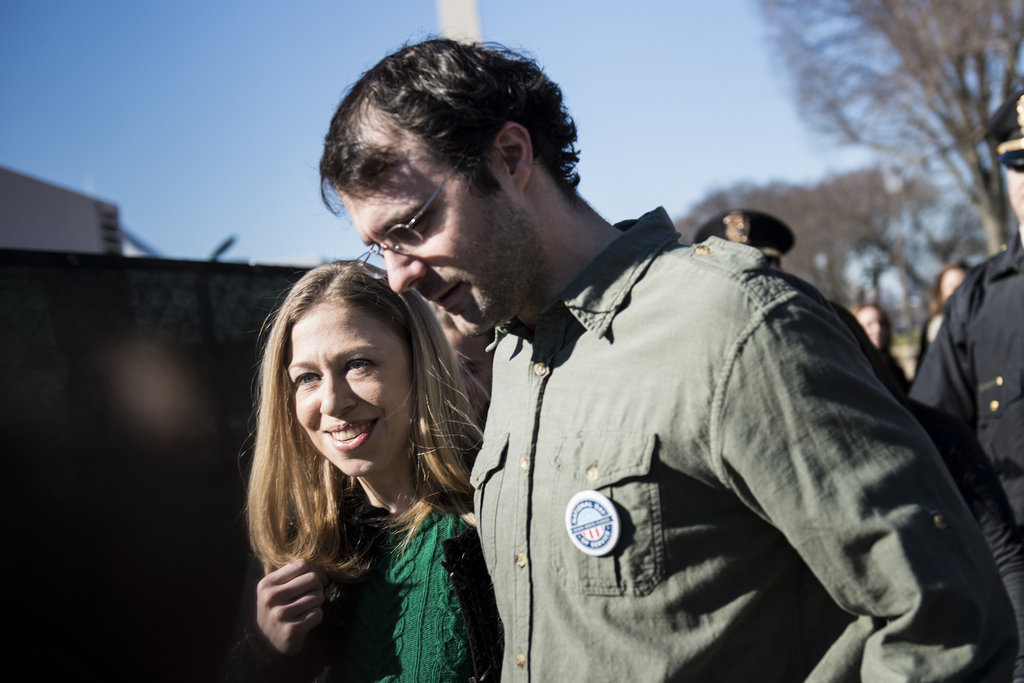 Chelsea Clinton and her husband volunteered together.