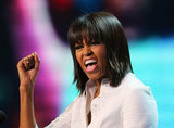Michelle Obama showed off her new bangs and enthusiasm at the concert.