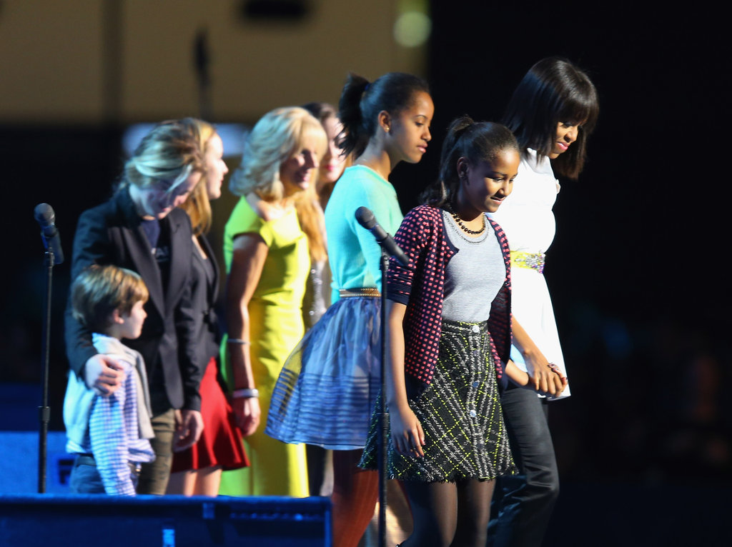Michelle Obama and her daughters, along with Jill Biden and her grandchildren, joined in the fun at the Kids' Inaugural concert.
