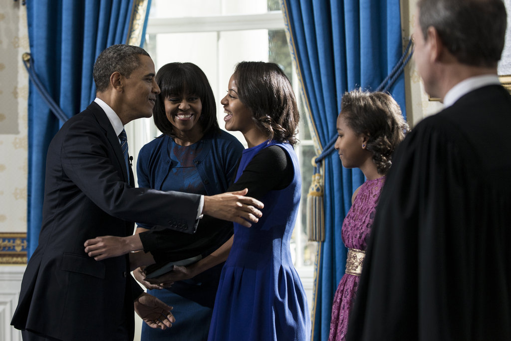 The Obamas shared a sweet moment after the president was officially sworn in.