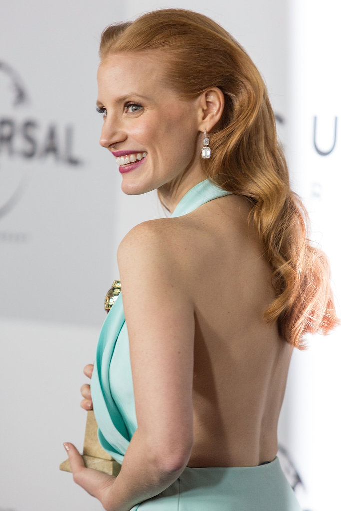 Jessica Chastain wore a backless blue gown.