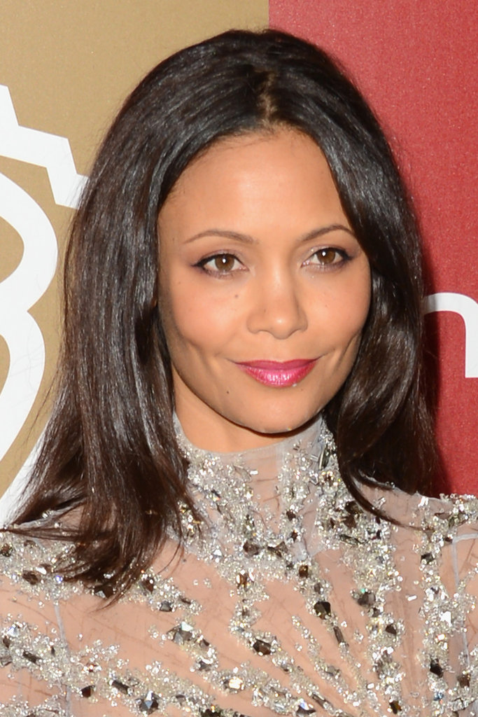 Thandie Newton smiled for photographers.