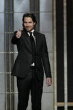 Christian Bale presented at the Golden Globes.