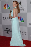 Jessica Chastain wore light blue.