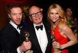 Homeland's Claire Danes and Damian Lewis said hello to Rupert Murdoch inside Fox's bash.