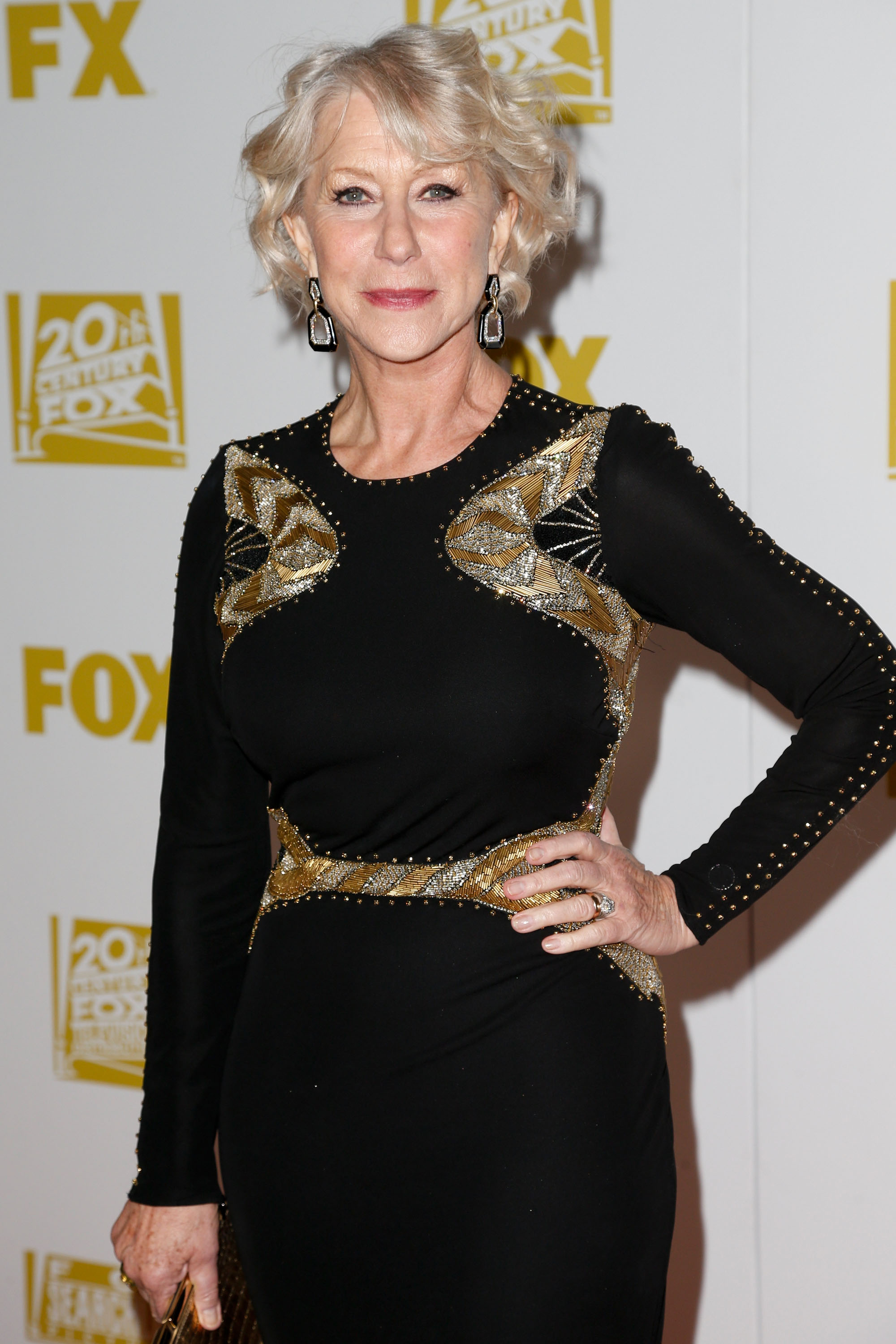 Helen Mirren posed at the Fox bash celebrating the Golden Globes.