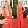Pics of Claire Danes in red Versace at 2013 Golden Globes