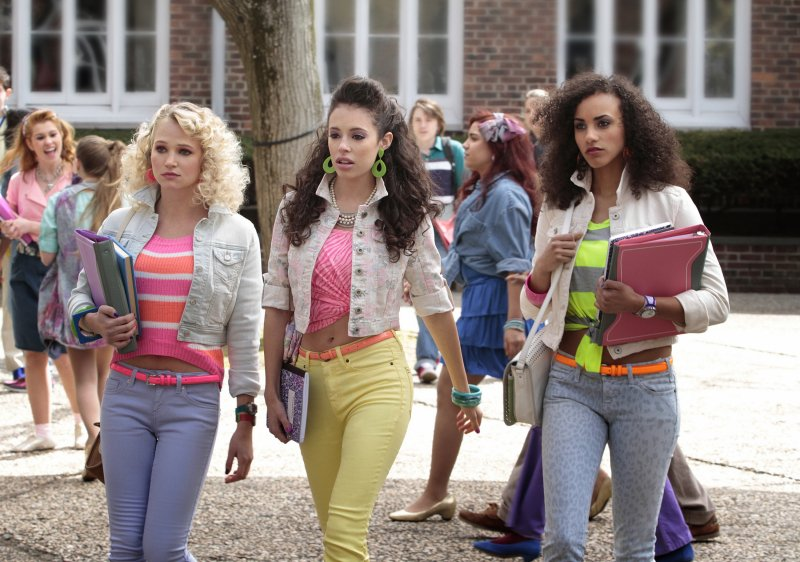 Working colored jeans, neon belts, and cropped denim jackets, it's clear this threesome is fearless when it comes to fashion. Channel their '80s-chic style with a pair of similar pastel skinny jeans. Source: The CW
