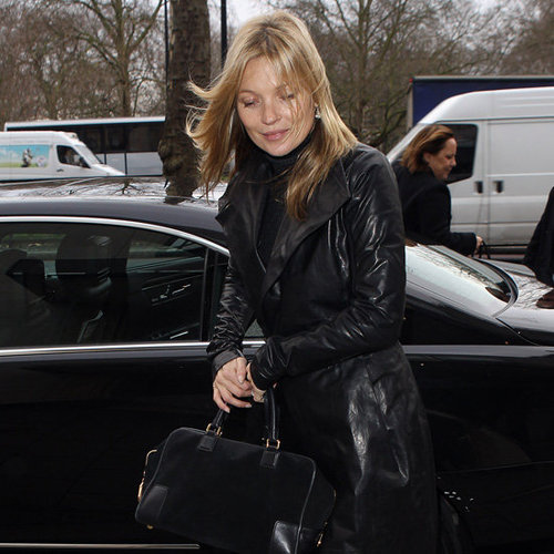 Kate Moss Wearing Black Leather Trench Coat