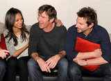 Zoe Saldana, Dennis Quaid, and Bradley Cooper cuddled up on a couch between interviews during Sundance weekend 2012.
