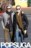 Evan Rachel Wood bundled up in a warm puffy coat.