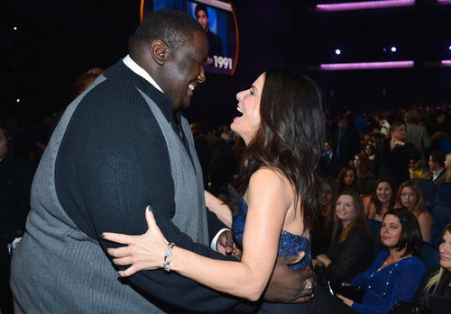 Sandra Bullock greeted her Blind Side costar Quinton Aaron at the People's Choice Awards.