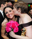 Lena Dunham kissed her fellow Golden Globe Award nominee Julia Louis-Dreyfus at HBO's Globes afterparty.