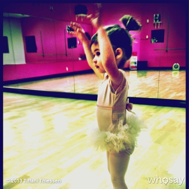 Tiffani Thiessen has a tiny ballerina on her hands. Source: Instagram user tathiessen