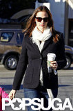 Jennifer Garner paired a white scarf with a blazer for a coffee run in LA.
