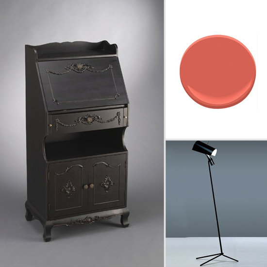 Get the Look: Create a pop-up office in practically any room with this compact black secretary desk ($538). Try jazzing up the shelves on your desk with Benjamin Moore's Raspberry Blush. The sleek utilitarian form of this floor lamp ($948) won't compete with an ornate desk.