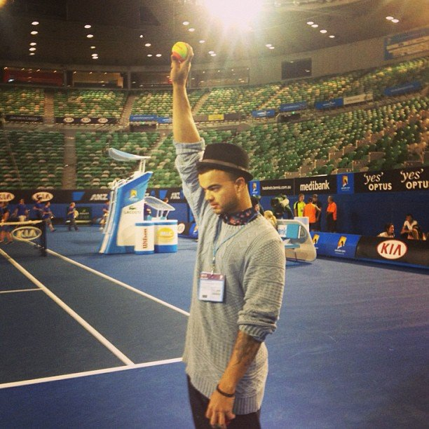 Guy Sebastian experienced life as a ball boy before the Australian Open kicked off. Source: Instagram user guysebastian