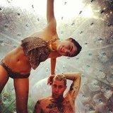 Bambi Northwood-Blyth and her new fiancé Dan Single had some fun in a waterball. Source: Instagram user stefbambi_