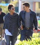 Halle Berry wore a knitted cape.
