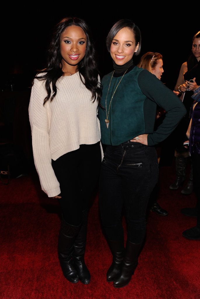 Now this is a dynamic duo: Jennifer Hudson, in a slouchy sweater and black jeans, and Alicia Keys, in a luxe green turtleneck and a shark-tooth Anita Ko necklace, posed together at the Village at the Lift.