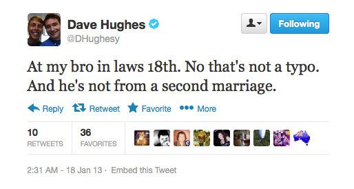 Dave Hughes seems to be distressed by his brother-in-laws age.