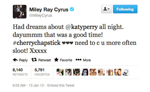 Miley Cyrus has a bit of a thing for Katy Perry, it seems. . .