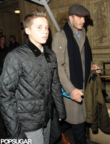 David Beckham was out in London with sons Romeo and Brooklyn Beckham.