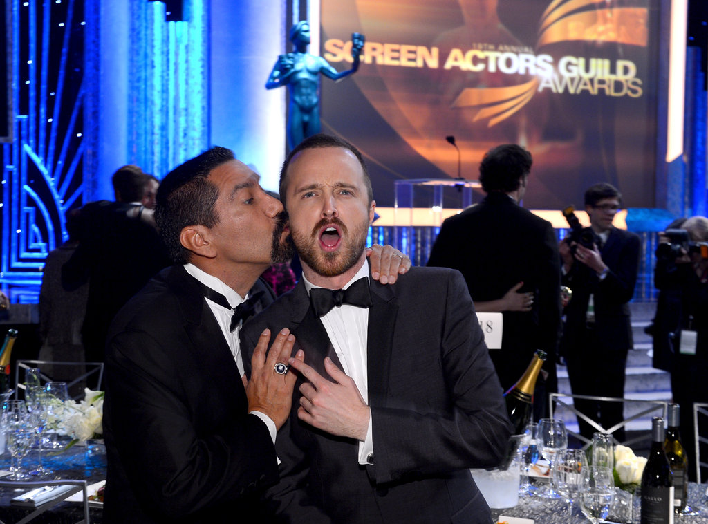 Aaron Paul goofed around with Steven Michael Quezada during the show.