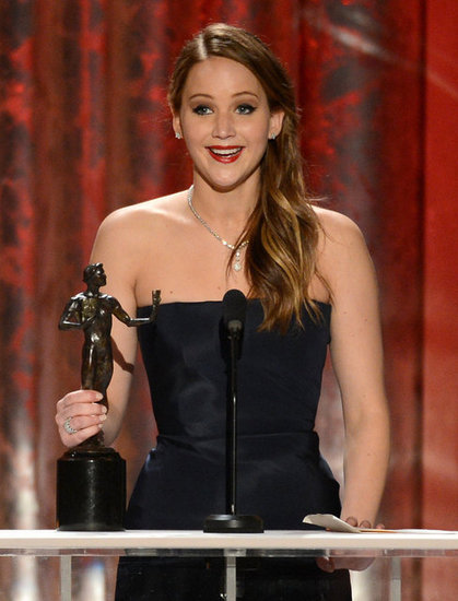 Jennifer Lawrence showed her excitement on stage after her win for Silver Linings Playbook.