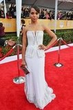 Kerry Washington wore a white gown to the SAG Awards.