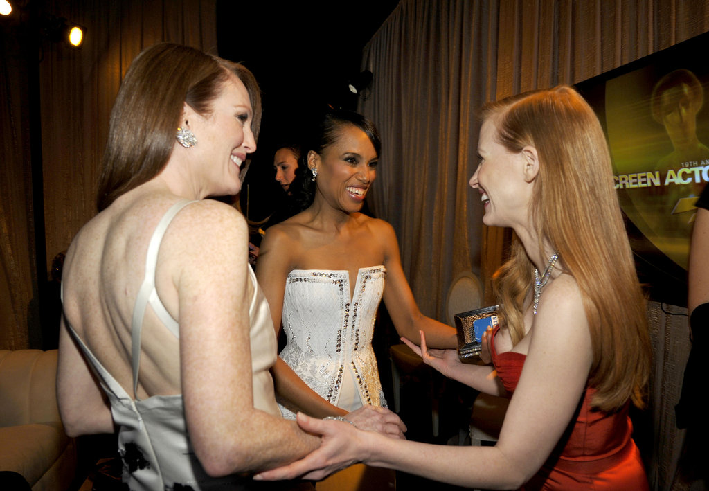 Julianne Moore, Kerry Washington, and Jessica Chastain smiled big backstage.