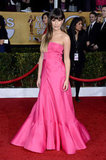 Lea Michele wore a bright pink gown to the SAG Awards.