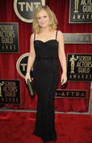 Amy Poehler flaunted her figure in a Zuhair Murad dress, that also showed off a sweetheart neckline.