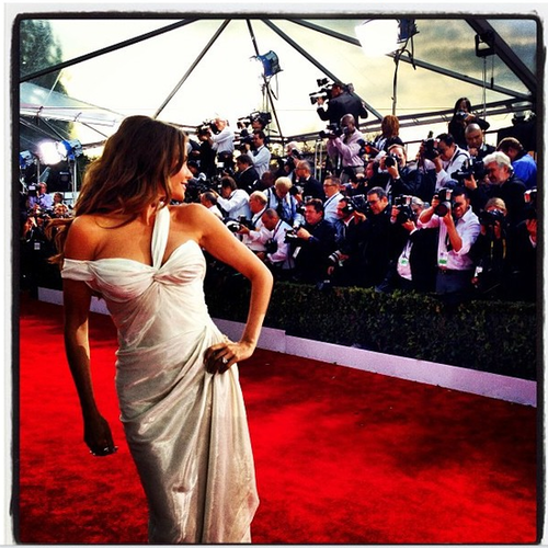 Sofia Vergara hit the SAGs red carpet with her signature sexy poses. Source: Instagram user sofiavergara