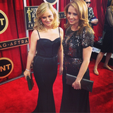 Amy Poehler, in Zuhair Murad, posed sweetly with Jenna Fischer. Source: Instagram user sagawards