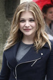 Chloë Moretz smiled outside Christian Dior.