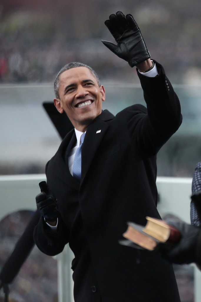 President Obama waved as he was sworn in for his second term Monday.
