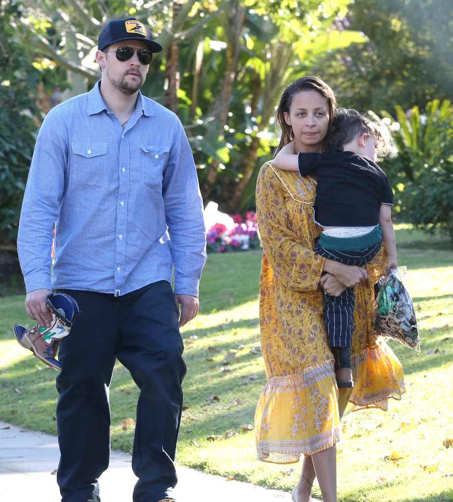 Joel Madden walked with Nicole Richie at the Beverly Hilton as she carried Sparrow Madden.