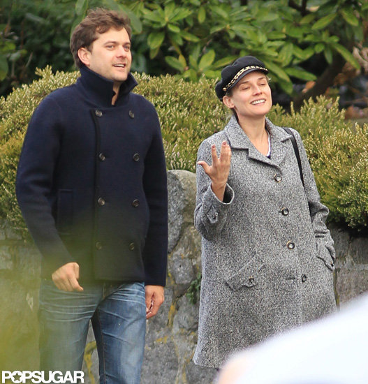 Joshua Jackson and Diane Kruger chatted on the way to a sports bar together in Vancouver.