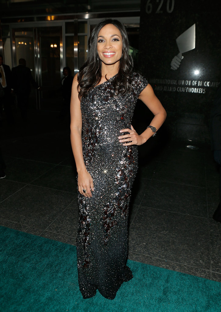 Rosario Dawson attended the Hip-Hop Inaugural Ball wearing a black sequined one-shoulder gown.